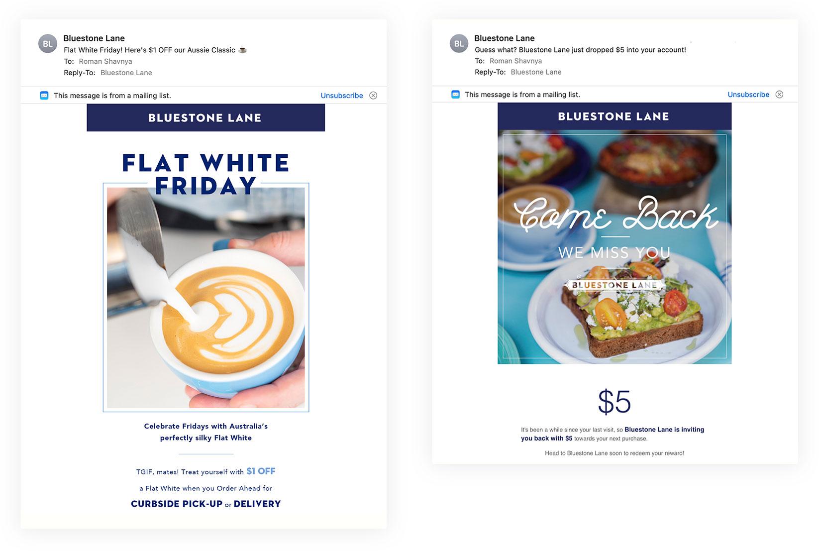 Bluestone Lane email-маркетинг