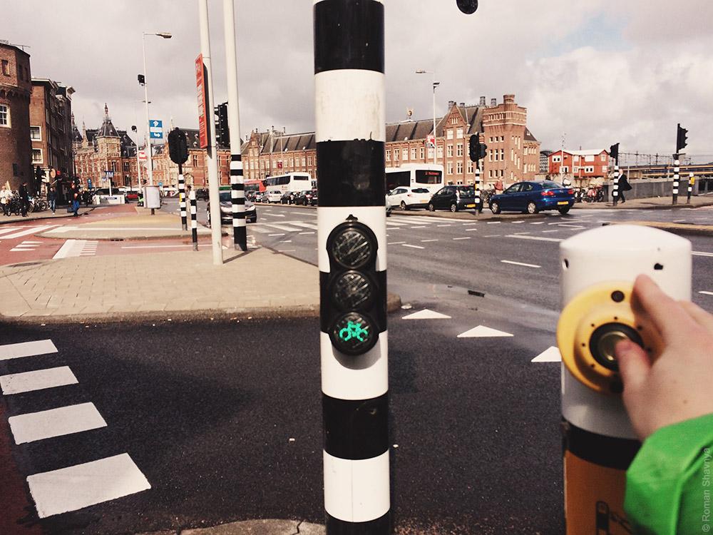 Светофорчик для велосипедистов в Амстердаме