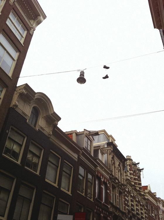 Ботинки на проводах в Амстердаме
