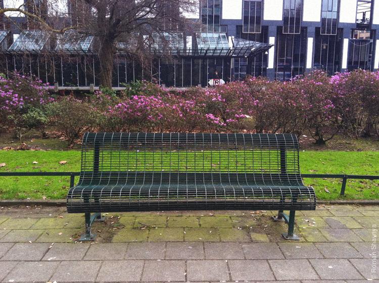 Скамейка-непромокайка в Амстердаме
