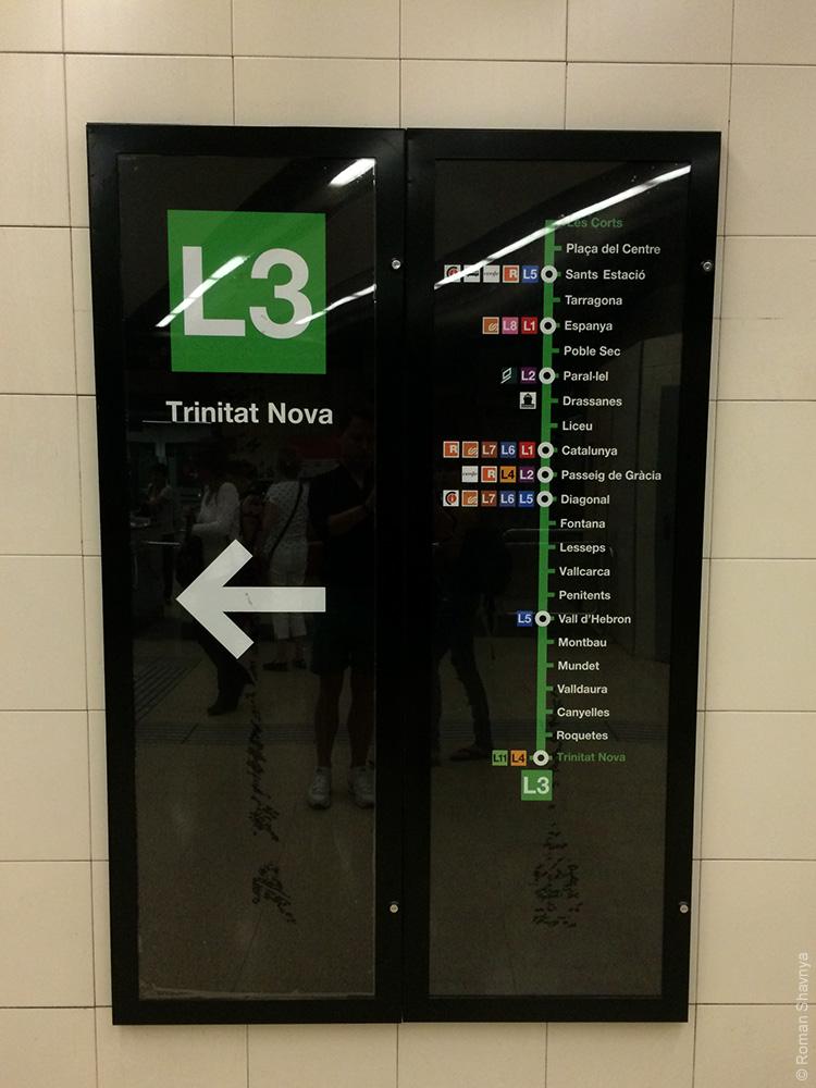 Схема метро на станции в Барселоне