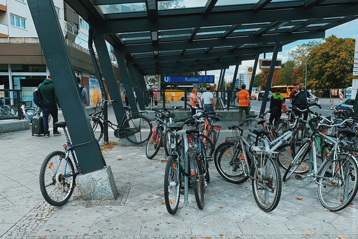 Bicycle parking near the subway in Berlin