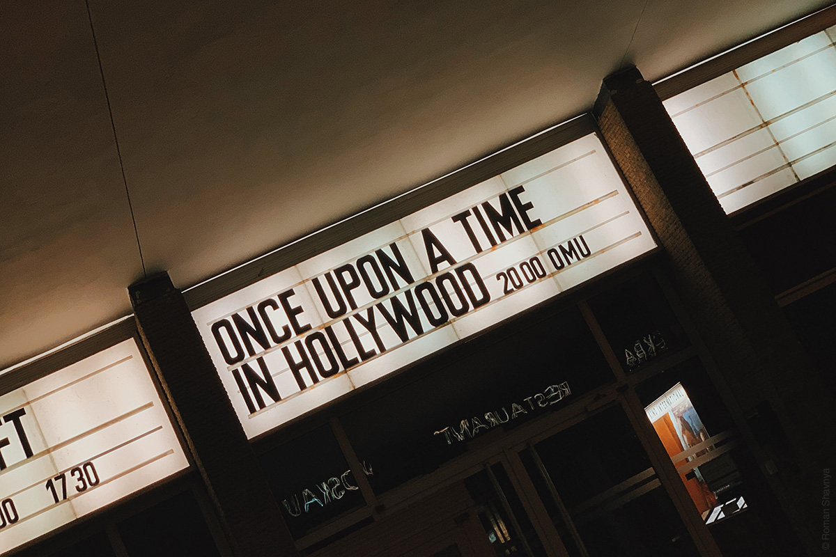 Announcement at the movie theater in Berlin
