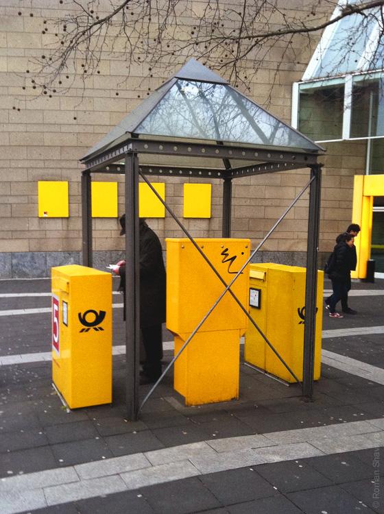 Место для вброса писем в почтовые ящики в Дюссельдорфе