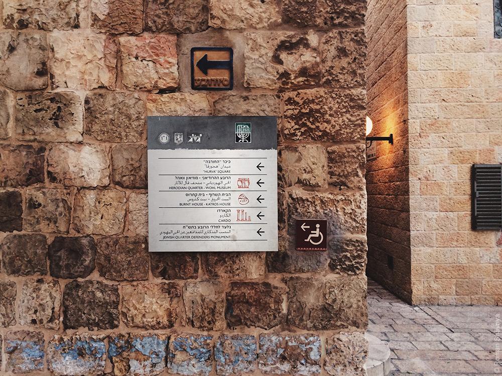 Навигационная табличка в Иерусалиме