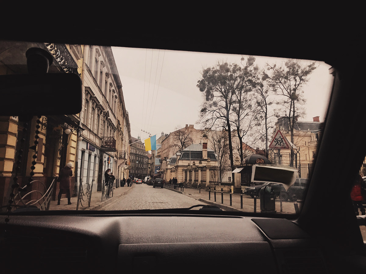 Flag in the streets of Lviv