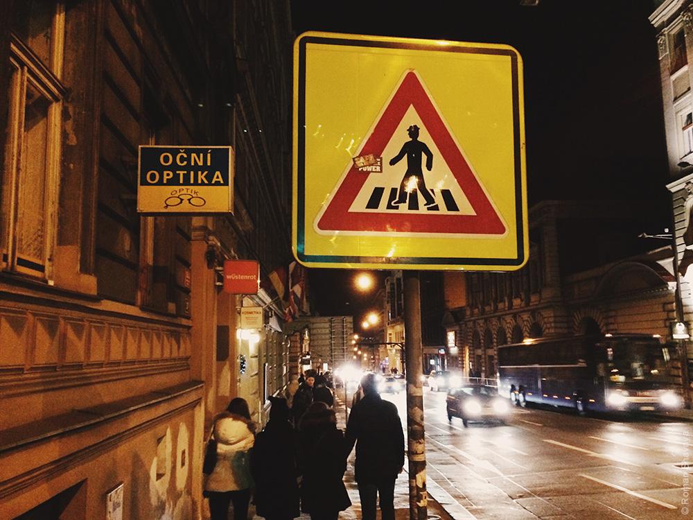 Знак переходного перехода в Праге