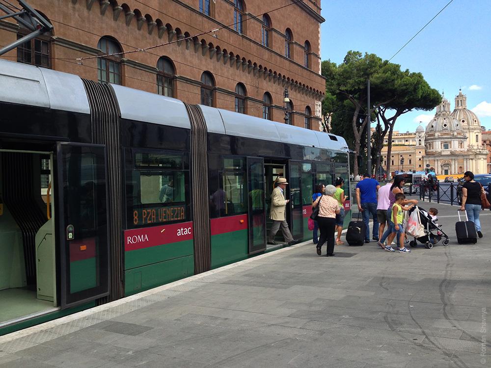 Трамвай в Риме. Римский трамвай. Новый трамвай в Риме
