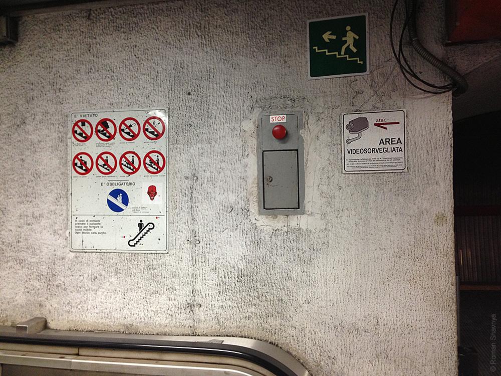 Пиктограммы в метро Рима