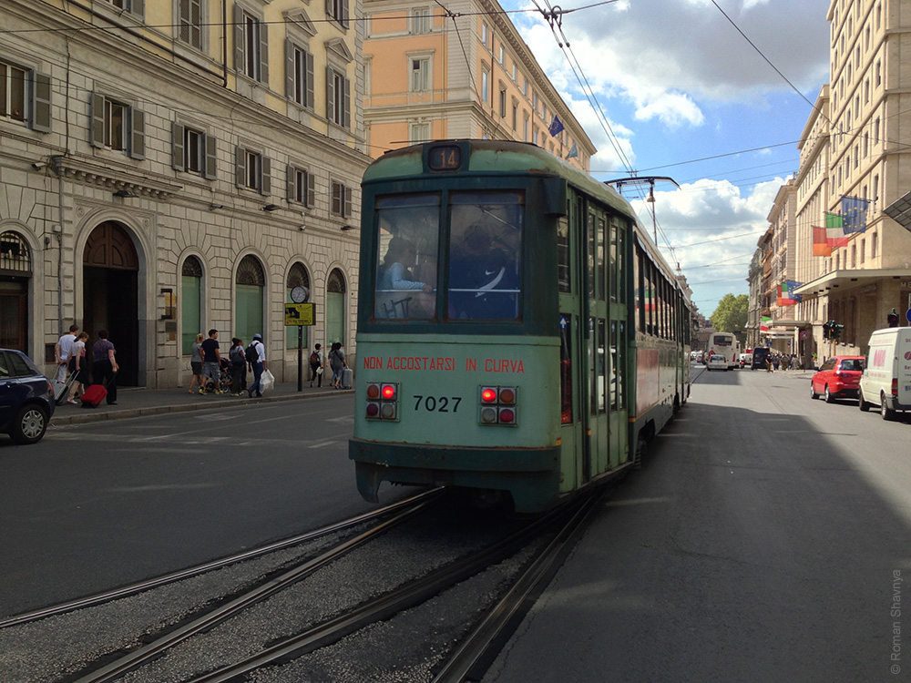 Трамвай в Риме. Римский трамвай. Старый трамвай в Риме